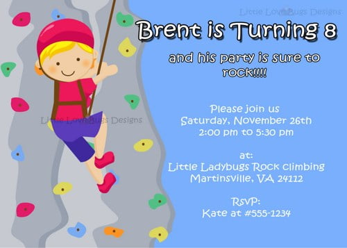 Boys rock climbing birthday invitations ideas