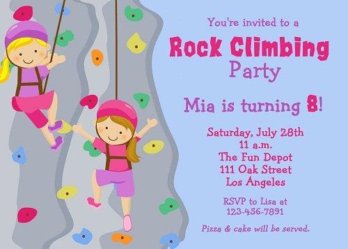 Girls rock climbing birthday invitations ideas