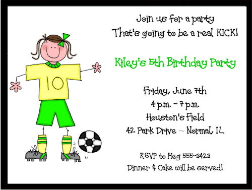 Girs soccer birthday invitations