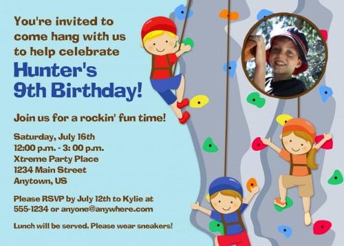 Personalized photo rock climbing birthday invitations ideas