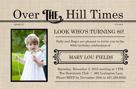 over the hill  eighthbirthday invitations ideas