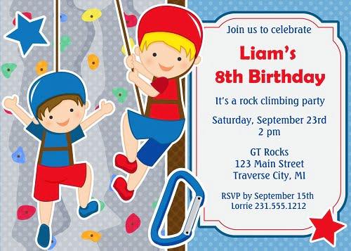 rock climbing birthday invitations ideas for teen