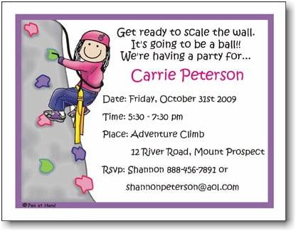 rock climbing birthday invitations ideas wording