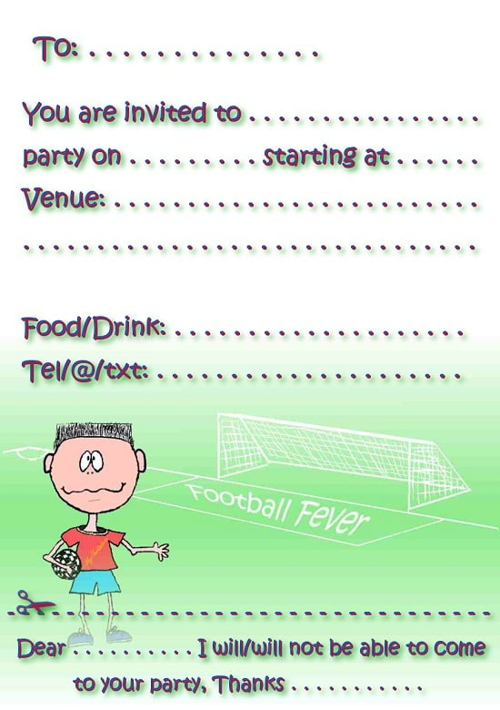 soccer free  birthday invitations