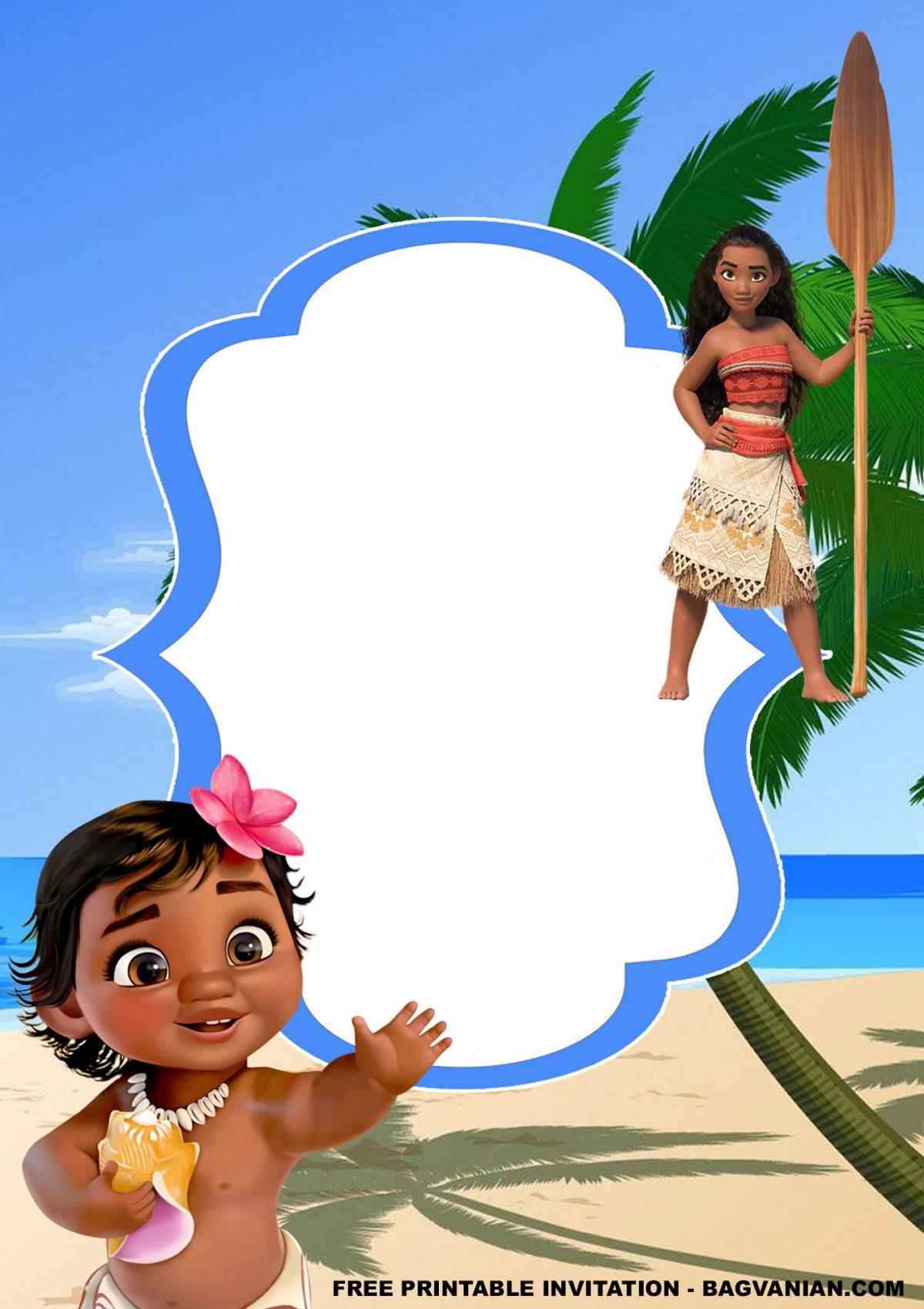 Free Printable Baby Moana Birthday Invitation Templates With Beautiful Coastline Background