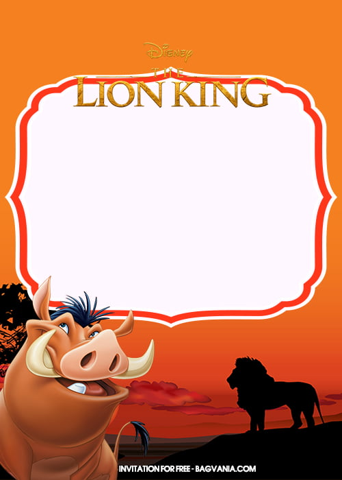 Free Printable Lion King Birthday Invitation Templates With Pumbaa