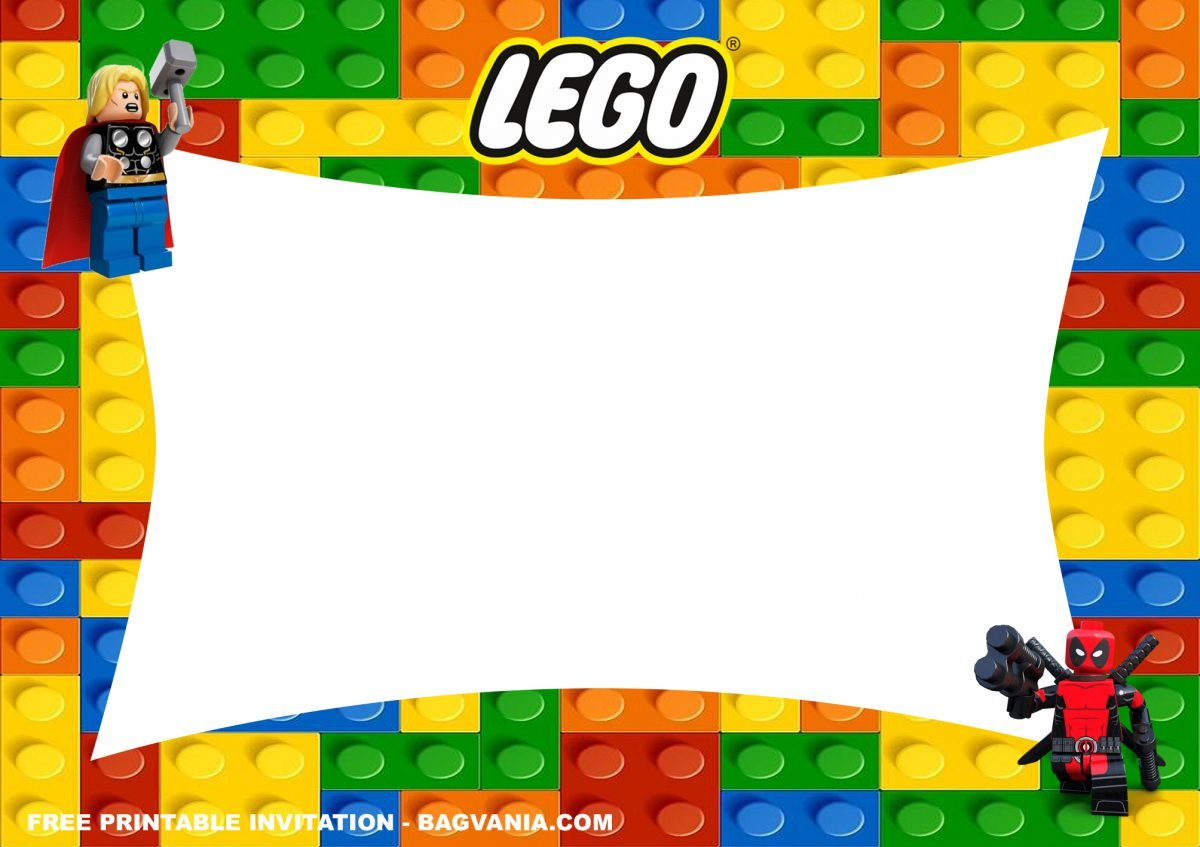 Free Printable Lego Superheroes Birthday Invitation Templates With Lego's Logo and Unique Shaped Text Box