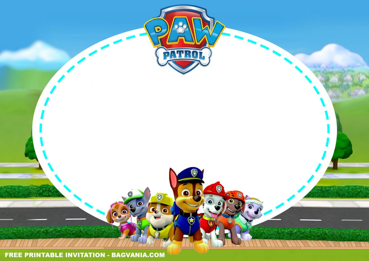 Free Printable Mighty PAW Patrol Birthday Invitation Templates With Paw Patrol Characters and Logo