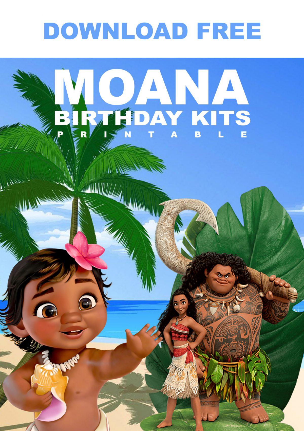 Free Printable Baby Moana Birthday Invitation Templates With Beach Background