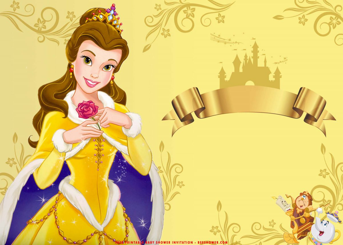 Free Printable Romantic Beauty And The Beast Baby Shower Invitation Templates With Disney Castle and Gold Ribbon