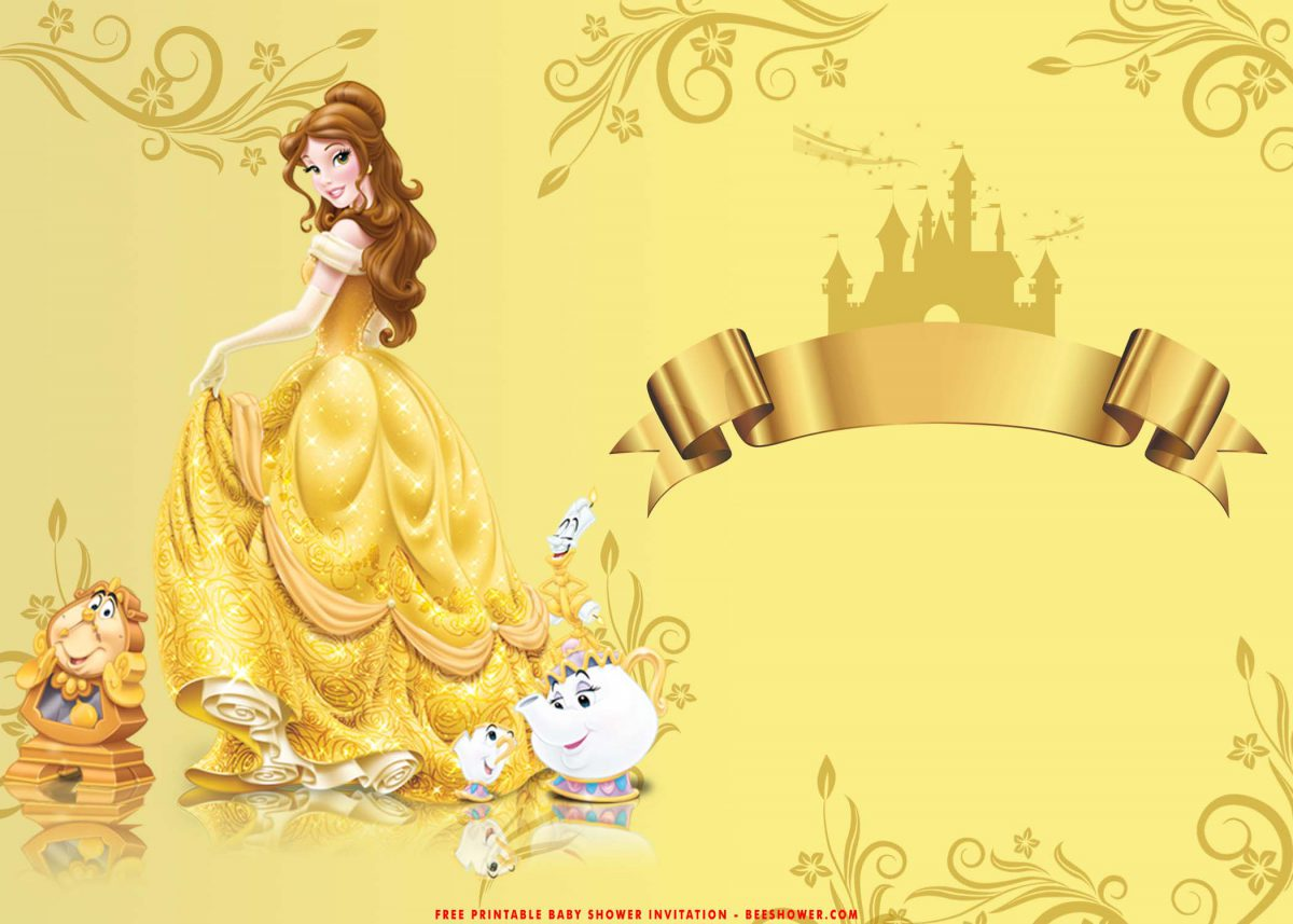 Free Printable Romantic Beauty And The Beast Baby Shower Invitation Templates With Pure White and Gold Background