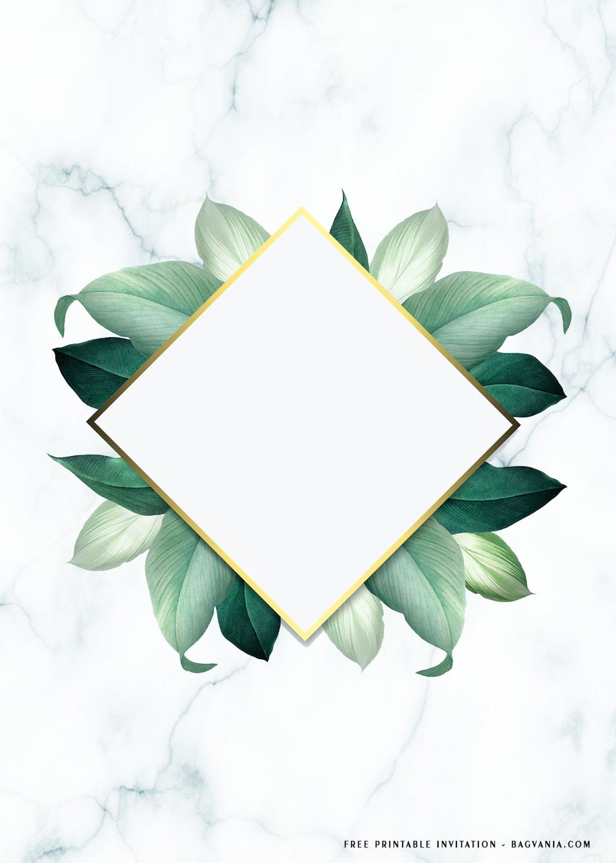 Free Printable Leafy Frame Birthday Invitation Templates With White Marble Background
