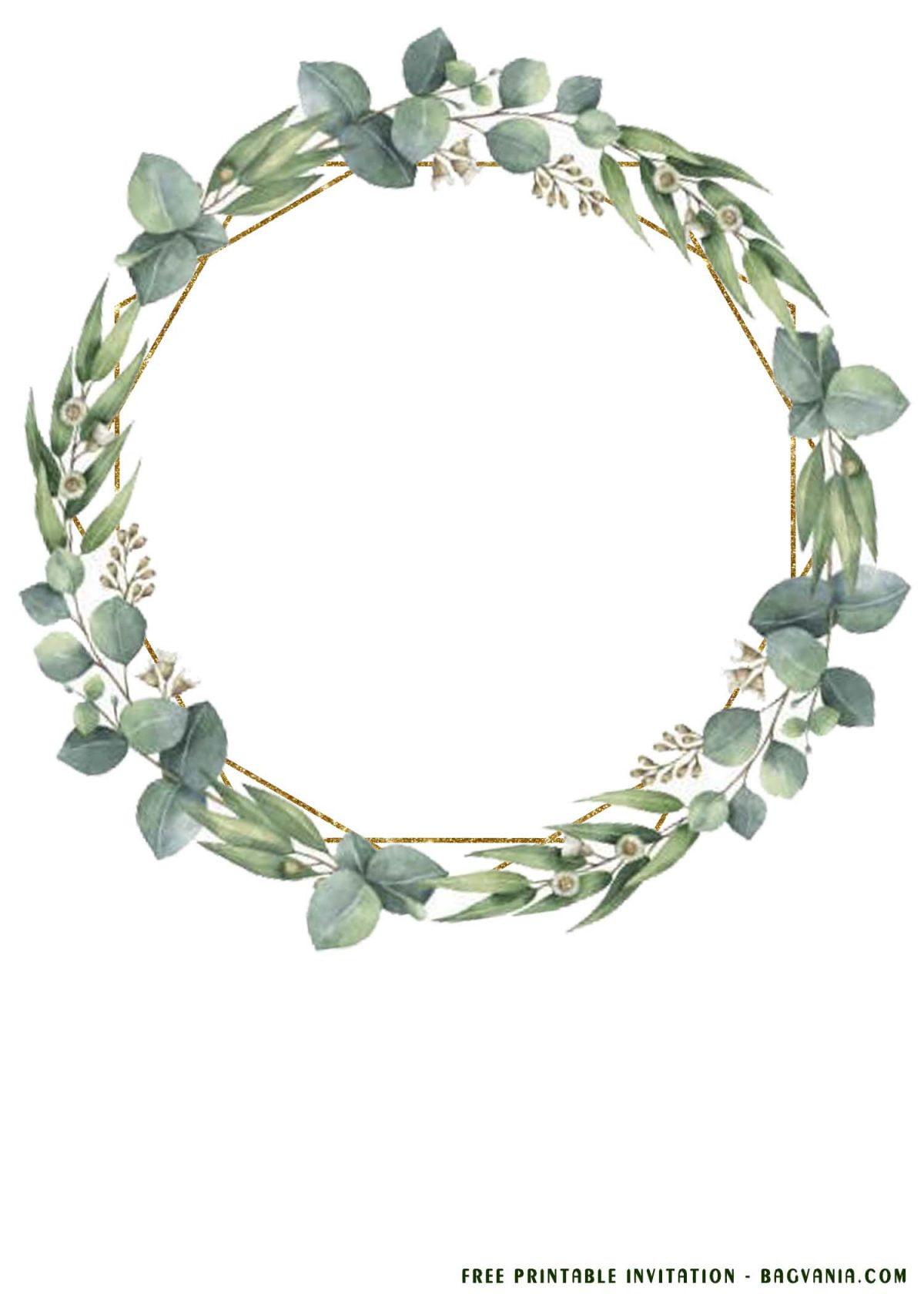 Free Printable Eucalyptus Wedding Invitation Templates With Custom Floral Loop Frame