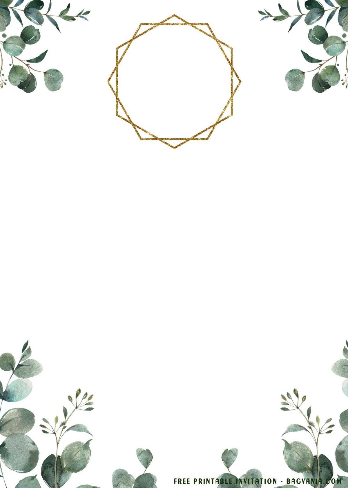 Free Printable Eucalyptus Wedding Invitation Templates With Geometric Style Text Frame