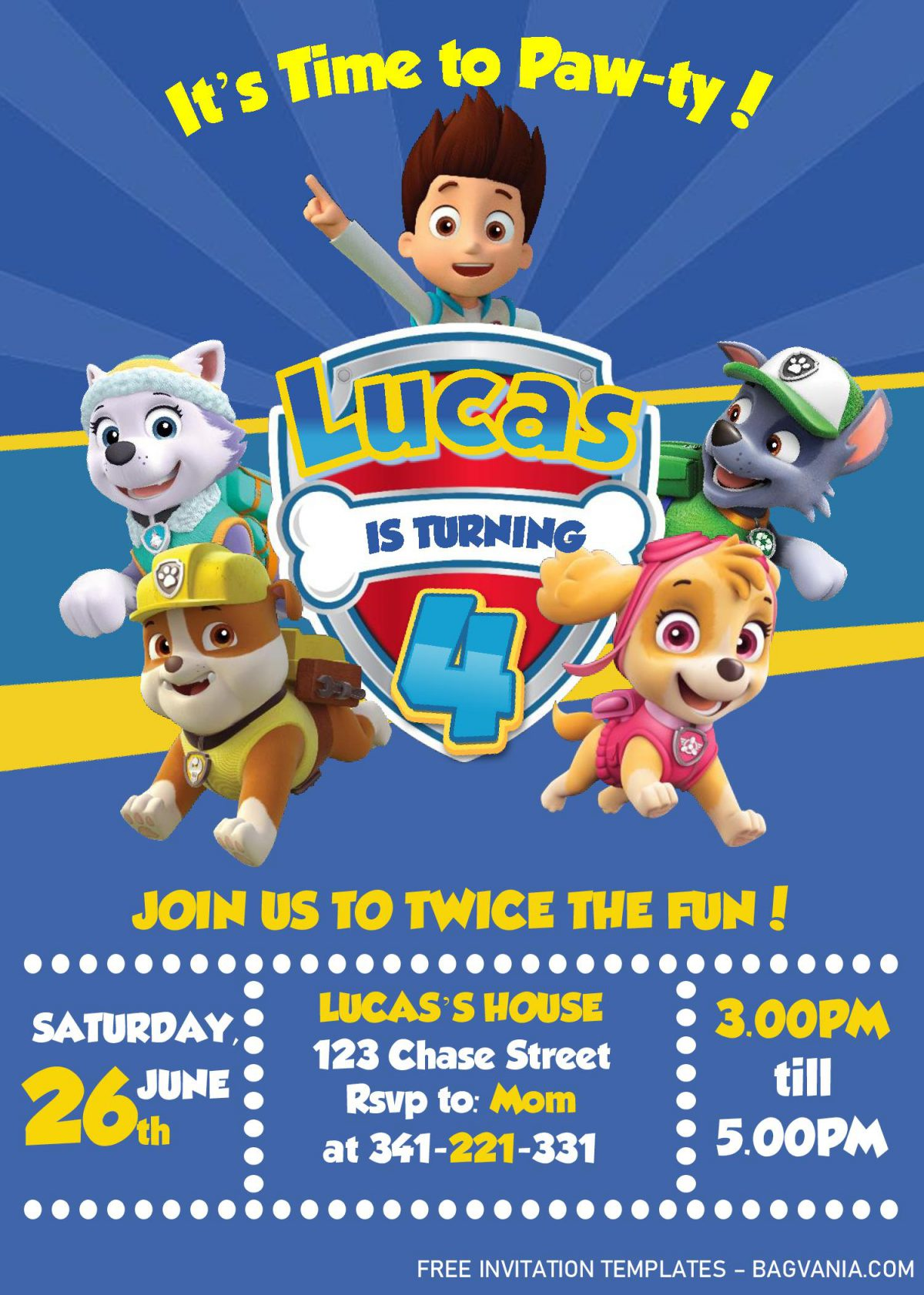 Paw Patrol Invitation Templates - Editable With MS Word and has skye and chase