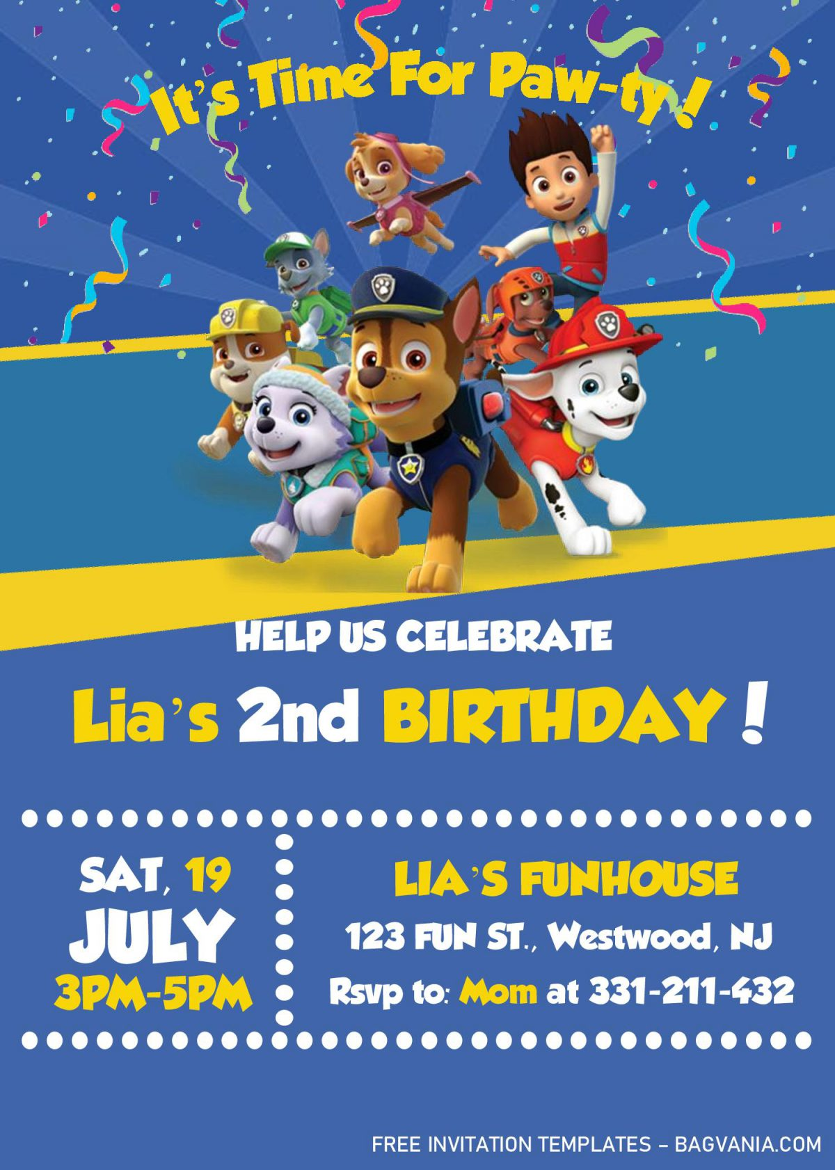 Paw Patrol Invitation Templates - Editable With MS Word and has confetti decorations