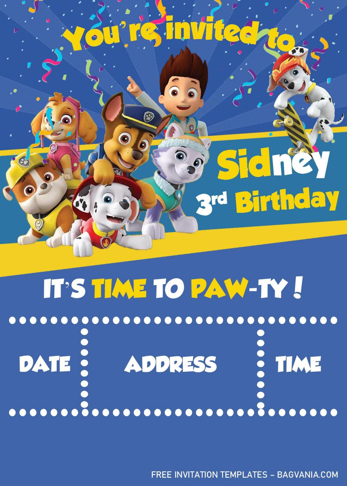 Paw Patrol Invitation Templates - Editable With MS Word and has all the cute characters