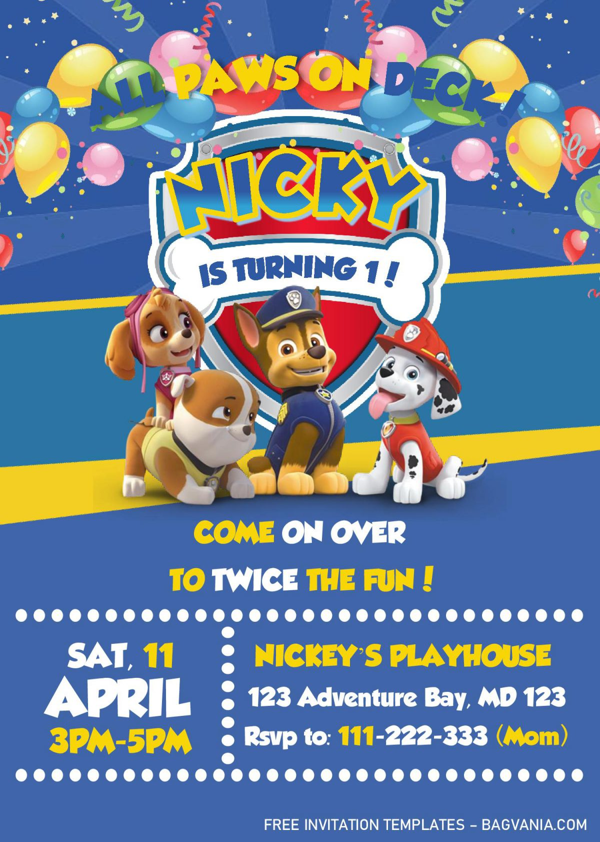 Paw Patrol Invitation Templates - Editable With MS Word and has Paw Patrol's Badge