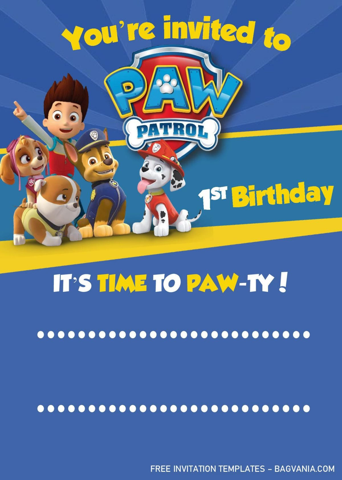 Paw Patrol Invitation Templates - Editable With MS Word and has blue background